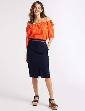 Cotton Rich Belted Pencil Midi Skirt, NAVY, catlanding