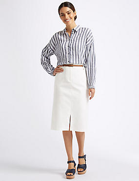 Cotton Rich Belted Pencil Midi Skirt, IVORY, catlanding