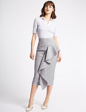 Ruffle Checked Pencil Midi Skirt