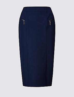 Cotton Rich Zip Detail Skirt , NAVY, catlanding