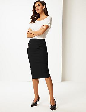 Cotton Rich Zip Detail Skirt , BLACK, catlanding