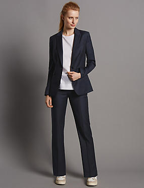 Straight Leg Trousers with New Wool