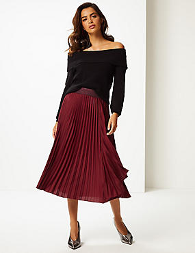 Satin Pleated Midi Skirt , BERRY, catlanding