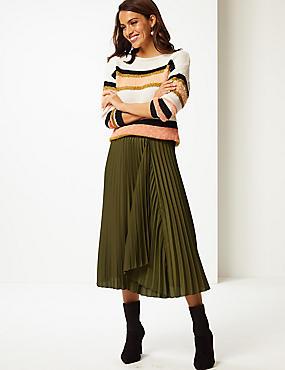 Satin Pleated Midi Skirt , FERN GREEN, catlanding
