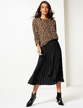Satin Pleated Midi Skirt , BLACK, catlanding