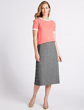 Checked Midi Skirt, BROWN MIX, catlanding