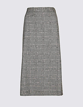 Checked Midi Skirt, BROWN MIX, catlanding