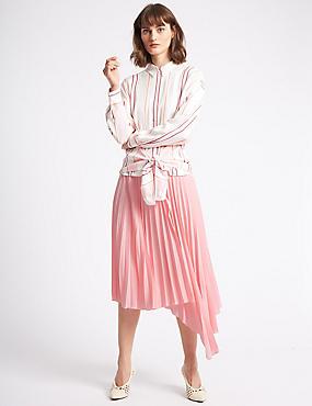 Pleated Asymmetric Skirt, PINK, catlanding