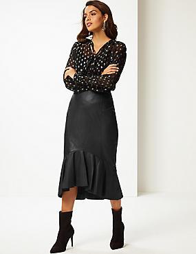 Leather Fishtail Midi Skirt, BLACK, catlanding