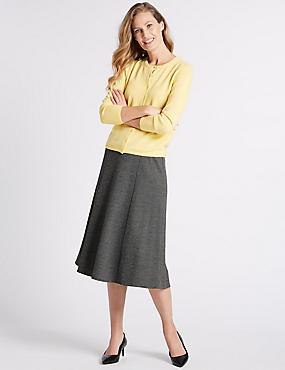 Textured Midi Skirt , BLACK MIX, catlanding