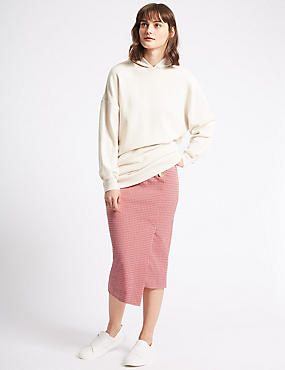 Checked Pencil Midi Skirt