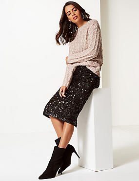 Embellished Pencil Midi Skirt, BLACK MIX, catlanding