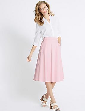 Cotton Rich A-Line Midi Skirt, BLOSSOM, catlanding