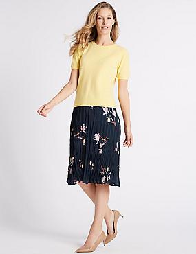 Floral Print Midi Skirt , NAVY MIX, catlanding