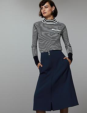 Zipped Front A-Line Midi Skirt , NAVY, catlanding