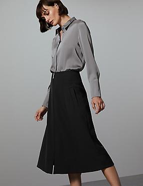 Zipped Front A-Line Midi Skirt , BLACK, catlanding