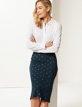Spotted Jersey A-Line Midi Skirt , NAVY MIX, catlanding