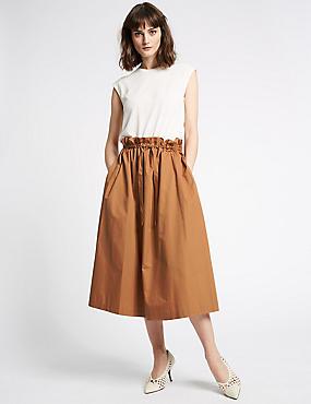 Pure Cotton Smoke Waist A-Line Midi Skirt, COGNAC, catlanding