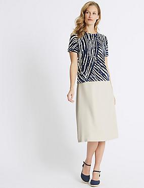 Cross Hatch A-Line Midi Skirt , NEUTRAL, catlanding