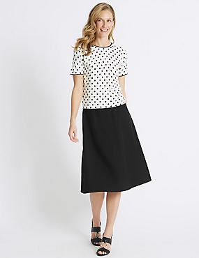 Cross Hatch A-Line Midi Skirt , BLACK, catlanding