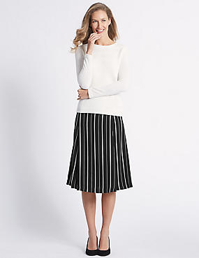 Satin Striped A-Line Midi Skirt , BLACK MIX, catlanding