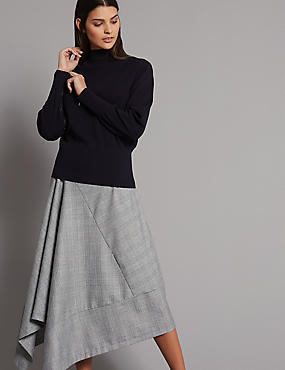 Checked Asymmetric Skirt