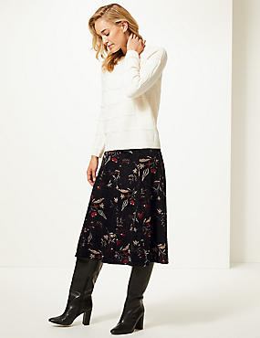 Floral Print Midi Skirt , BLACK MIX, catlanding