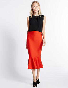 Fluted Bodycon Midi Skirt