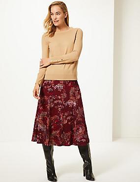 Floral Print Flocked A-Line Midi Skirt , BURGUNDY MIX, catlanding