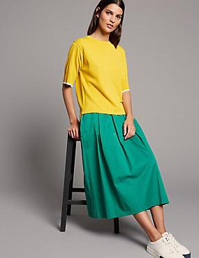 Cotton Blend Full Midi Skirt , TEAL GREEN, catlanding