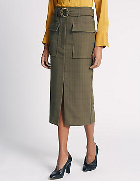 Belted Utility Straight Skirt
