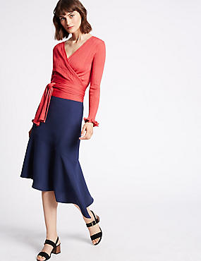 Bias Cut Asymmetrical Midi Skirt