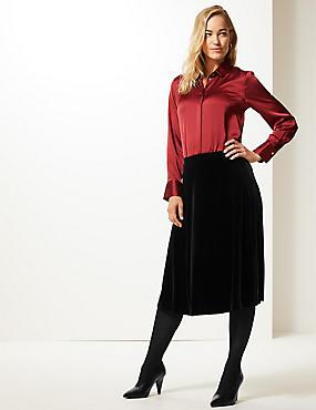 Velvet A-Line Midi Skirt , BLACK, catlanding