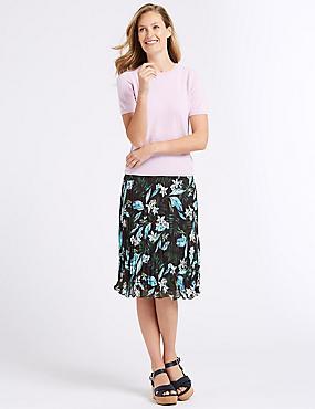 Floral Print A-Line Midi Skirt, BLACK MIX, catlanding