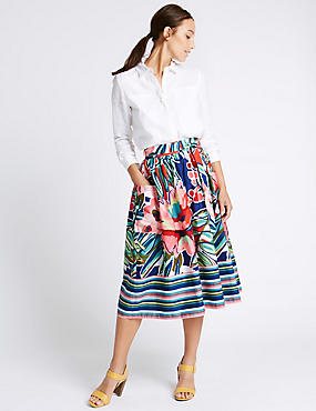 Pure Cotton Poplin Print A-Line Midi Skirt