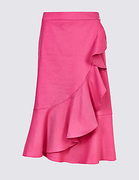 Linen Blend Pencil Midi Skirt , PINK, catlanding