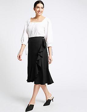 Linen Blend Pencil Midi Skirt , BLACK, catlanding