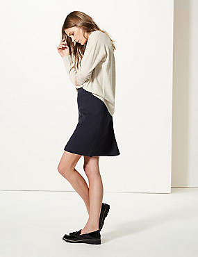 Jersey A-Line Mini Skirt, NAVY, catlanding