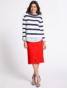Cotton Blend Pencil Skirt , RED, catlanding