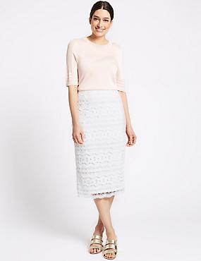 Lace Pencil Midi Skirt, SOFT WHITE, catlanding