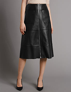 Pure Leather A-Line Skirt