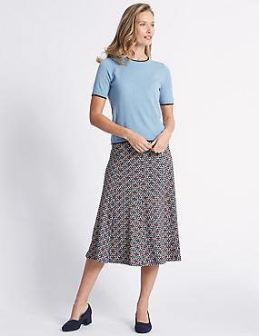 Printed Flocked A-Line Midi Skirt