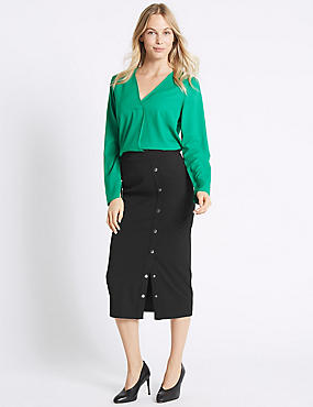 Side Snap Boxy Pencil Midi Skirt