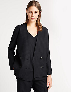 Pure New Wool Striped Double Breasted Blazer