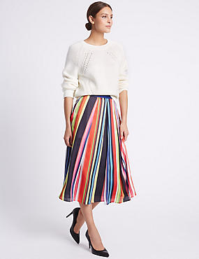 Striped Below the Knee A-Line Skirt