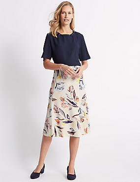 Floral Print A-Line Midi Skirt , IVORY MIX, catlanding