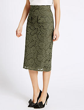 Lace Pocket Bodycon Skirt