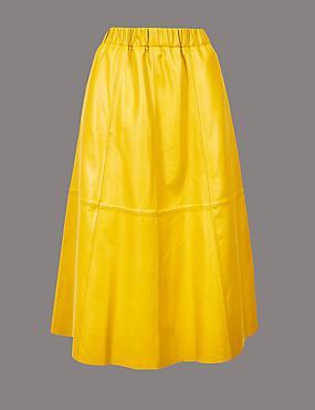 Leather A-Line Midi Skirt , YELLOW, catlanding