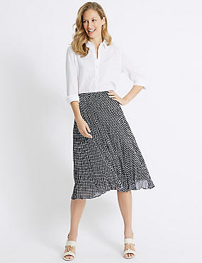 Spotted Pleat A-Line Midi Skirt
