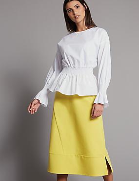 Cotton Rich A-Line Midi Skirt , LIME, catlanding
